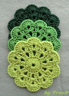 TresP craft blog: POSAVASOS DE CROCHET/GANCHILLO: MODELO FLOR Crochet Quilt, Crochet Mandala, Thread Crochet, Crochet Motif, Crochet Doilies, Free Crochet, Crochet Keychain Pattern, Crochet Coaster Pattern, Crochet Instructions