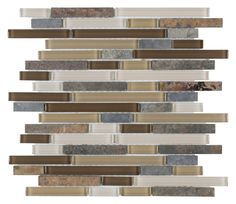 Linear Glass Slate Mosaic Tile Blue is a combination of glass and blue slate stone mounted on a 12x12 interlocking sheet for backsplash, and bathroom, bathroom, and shower walls. Samples availabe!