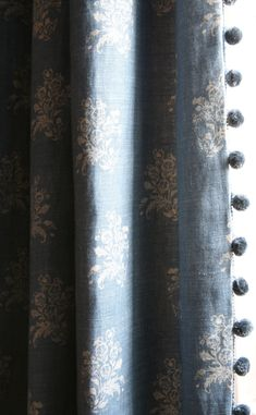 Pom Pom Curtains, Balloon Curtains, Drapes Curtains, Drapery, Grey Curtains Bedroom, Cottage Curtains, Blue Curtains Living Room, Curtain Trim, Curtain Fabric