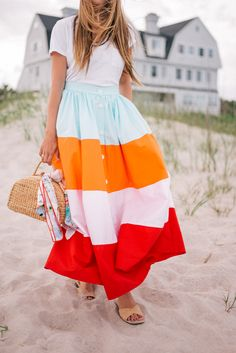 Gal Meets Glam MDS Stripes -Madewell tee, MDS Stripes skirt, Carrie Forbes sandals, Sea & Grass bag & CH Carolina Herrera scarf