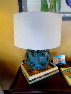 Umberto Lamp - $318. The Umberto lamp is made of turqouise stained crackle terra cotta. Sculptural as well as functional, this lamp double as an art piece for stylish homes.