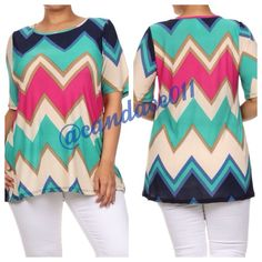 Multi-Color Zigzag Tunic ✳️Bundle to save 15%!✳️ Colors: teal, gold, beige, navy, fuchsia   92% Polyester 8% Spandex Size recommendations: 2X (18-20) Made in the USA CC Boutique  Tops Tees - Short Sleeve
