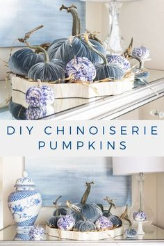 These blue and white DIY Chinoiserie Pumpkins are easy to make and are an inexpensive way to decorate for fall. With just a few supplies you can add these DIY pumpkins to your fall decor or table setting.