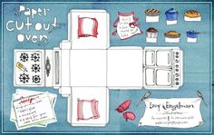FREE printable paper Cutout Oven. This would be a cute cupcake box or fun for…