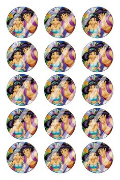 "Aladdin Jasmine Bottle Cap 1"" Circle Images #AJ12 (instant download or pre cut)"
