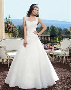 Style 3809: Lace ball gown with a Queen Anne neckline | Sincerity Bridal