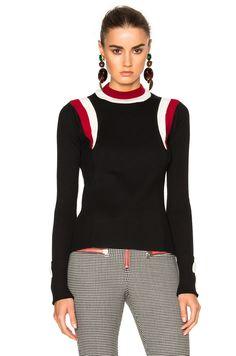 Image 1 of Marni Virgin Wool Round Neck Sweater in Black & Raspberry. MARNI Autumn/Winter 2016