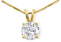Diamond Pendants: 1ct Diamond Pendant in 14k Yellow Gold