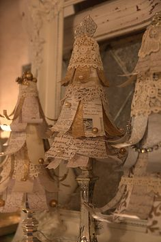 Paper, lace and other vintage embellishment Trees
