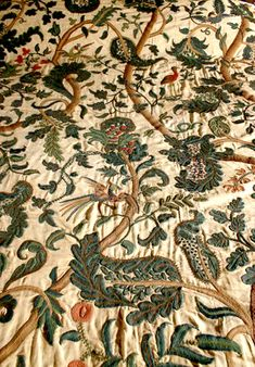 Needlepoint bed cover, flowers and leaves, colored green - Bunratty Castle Medieval Collection.