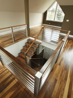 Love this one too! Stainless Steel Staircase Railing Design, Pictures, Remodel, Decor and Ideas Loft Stairs, Deck Railing Design, Railing Design, Staircase Railings, Remodel, House, Stainless Steel Staircase, Modern Staircase, Modern Staircase Railing
