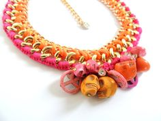 Pink and orange necklace skull necklace bib by JewelryLanChe #pink #orange #neon #necklace #colorblock #jewelry #etsy