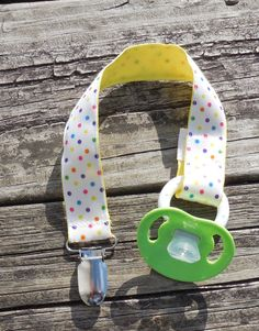 #YellowRibbon #MulticoloredDots #PacifierHolder by GabbysQuilts #baby #handmade
