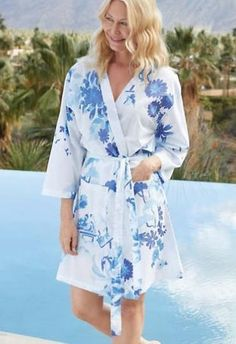 Like a lyrical and lilting refrain of a melody, our blue and white print of stylized flora and foliage will lift your spirits and fill you with a sense of well being. Gauzy cotton voile is light and lovely against the skin and perfect for summer nights and warmer climates. Easily packable kimono style robe makes your life easy and is naturally sophisticated. Beach House Bathroom, Kimono Fashion, Blue And White, Kimono Style, Summer Nights, Bungalow, Floral, Fill, Bathrooms