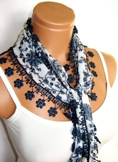 Navy Blue White Scarf Turkish Fabric Fringed by WomanStyleStore, $14.00
