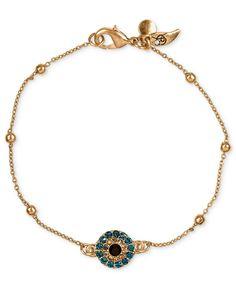 RACHEL Rachel Roy Bracelet, Worn Gold-Tone Rosary Chain Blue Pave Evil Eye Charm Bracelet - Fashion Jewelry - Jewelry & Watches - Macy's