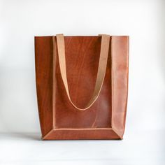 Cognac Leather Tote by CrowSLC on Etsy