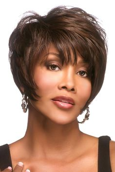 Vivica Fox wigs include chemo wigs that feature high heat-resistant fibers, allowing the use of a curling iron at lower temperatures. These cancer patients' wigs offer sure stretch cap™ wig cap technology for all day comfort without tightness. Wig Styles, Curly Hair Styles, Natural Hair Styles, My Hairstyle, Wig Hairstyles, Hairstyles 2016, Mullet Hairstyle, Black Hairstyle, Short Human Hair Wigs