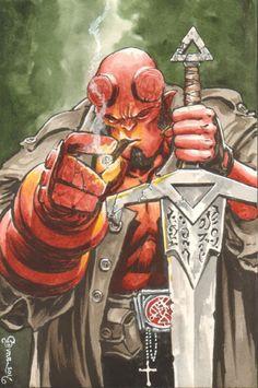 """folderolsoup: """"Hellboy by Daniel Govar """""""