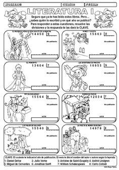 """Divisiones de 5 cifras entre 1 con temática: """"literatura"""""""