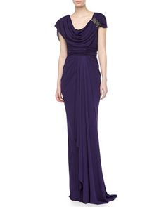 Jersey Draped Gown with Applique by Badgley Mischka at Neiman Marcus.