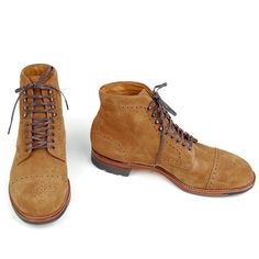 Alden cap toe boots peanut suede for French Trotters