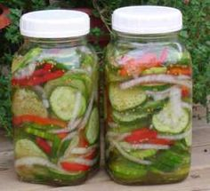 A summer salad that can stay in fridge up to 2 months.    7-cups unpeeled pickling cucumbers sliced thin;  1-cup sliced onions;  1-cup sliced green (or red) peppers;  1-T. salt;  1-cup white vinegar;  2-cups sugar  1-tsp celery seed  1-tsp mustard seed. Mix cucumbers, onions, peppers & salt; set aside.  Put vinegar, sugar, celery seed and mustard seed in a pot, bring to a boil.  Remove from heat & let cool one hour.  Pour mixture over cucumbers.  Put in jars & store in fridge.