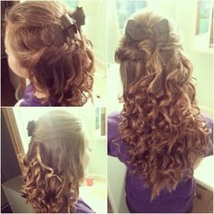Curly hair with a swisted bump & fishtail braid on the other side coming to together & bow in the middle back curls on curlss on curlss