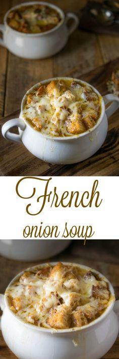 Onion Soup A rich, sweet, flavorful onion laden soup with floating croutons and lots of melted gruyere cheese.A rich, sweet, flavorful onion laden soup with floating croutons and lots of melted gruyere cheese. Chili Recipes, Soup Recipes, Cooking Recipes, Recipies, Soup And Sandwich, Soup And Salad, Soups And Stews, Gruyere Cheese, Cheese Soup