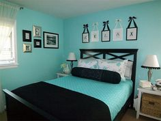 black pillow, blanket and seafoam green sheets. turquoise black bedroom - Google Search