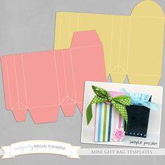 Free Mini Gift Bag Templates | These cute DIY mini bags are perfect for packaging little treats, gifts, and party favors! Templates are provided in layered PSD & TIF files as well as printable PDF files.