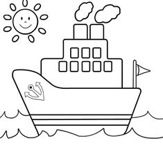 Ship Coloring Page For Kids - Transportation Coloring pages of . Easy Drawings For Kids, Drawing For Kids, Art For Kids, Coloring Book Pages, Printable Coloring Pages, Transportation For Kids, Kindergarten Coloring Pages, Kids Canvas, Drawing Lessons