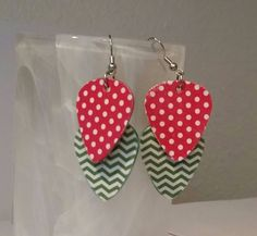 Christmas Jewelry - Guitar Pick Jewelry by Betsy's Jewelry - Earrings -Music Jewelry - Holiday - Polka Dots - Chevron - Upcycled Jewelry by BetsysJewelry on Etsy