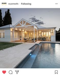 Here is the pool and back deck, which is like a whole extra living space and has been used every day since we moved in. Having a pool is… Hamptons Style Homes, Hamptons House, The Hamptons, Outdoor Areas, Outdoor Rooms, Outdoor Living, Indoor Outdoor, Weatherboard House, Queenslander