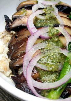 Grilled Portobello Mushroom Steak Rice Bowl with No-Cheese Basil Pesto (vegan)
