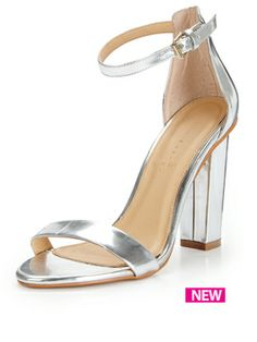 Wide Fit Silver Glitter Front Ankle Strap Block Heels | Shoes ...