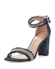 Shop women's spring fashion collections in BG Radar at Bergdorf Goodman. Bring your game this season with the hottest trends in high fashion. Denim Sandals, Navy Sandals, Fringe Sandals, Ankle Wrap Sandals, Ankle Strap, Shoes Sandals, Navy Block Heels, Block Heel Shoes, Stuart Weitzman