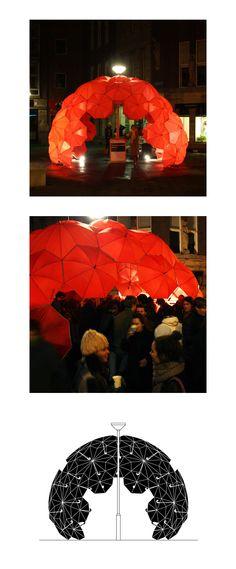 Buckminster Fuller inspired Buckybar, DUS architects, umbrelas, pop-up bar