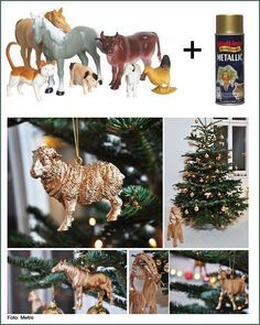"""""""toy"""" ornaments--add glitter or metallic spray paint Woodland Christmas, Noel Christmas, All Things Christmas, Christmas Ornaments, Nativity Ornaments, Diy Ornaments, Plastic Animal Crafts, Plastic Animals, Holiday Crafts"""