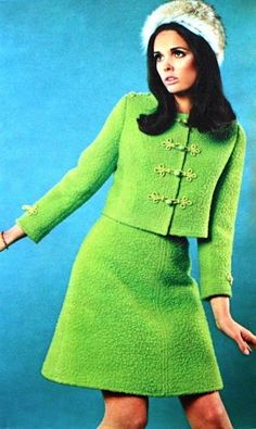 Sixties fashion, CRI Magazine (Dutch) July 1967 vintage fashion print ad color photo green boucle wool suit skirt jacket boxy mini dress 60s era mod