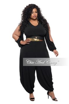 Plus Size Jumpsuit with Genie Split Sleeves and Leg in Black – Chic And Curvy