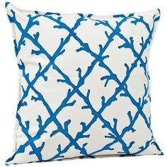 ecoaccents Blue Coral Lattice Cotton Canvas Pillow (£44) ❤ liked on Polyvore featuring home, home decor, throw pillows, pillows, accessories, cushions, blue throw pillows, canvas throw pillows, coral throw pillows and blue home accessories