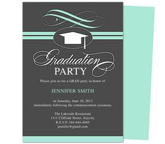 Graduation Party Invitation Templates : Swirl Graduation Party Announcement Template