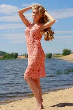 вязаное платье крючком, ажурное платье