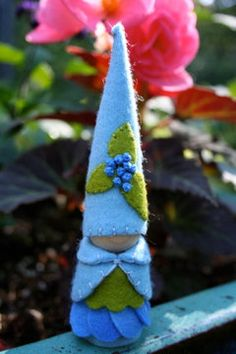 Items similar to Blueberry felt gnome Waldorf inspired flower fairy elf sprite summer nature table play doll on Etsy