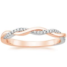 14K Rose Gold Mixed Metal Petite Twisted Vine Diamond Ring from Brilliant Earth