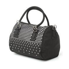 Armani Jeans Bag, Black Armani Handbag, Silver Stud Bowling Bag ($175) ❤ liked on Polyvore