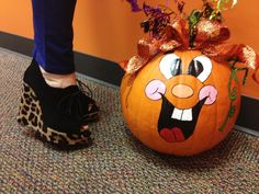 Cute shoes and decorated pumpkin!