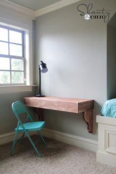 Shanty 2 Chic DIY Corbel Desk Using Rust-Oleum Varathane Wood Stain (Diy Furniture Desk) Shanty 2 Chic, Frame Shelf, Diy Frame, Varathane Wood Stain, Floating Desk, Loft Spaces, Diy Desk, Diy Furniture, Furniture Cleaning