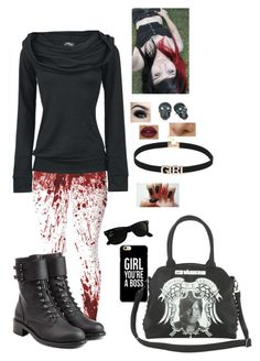 """Bloody"" by lol22-2000 ❤ liked on Polyvore featuring Rock Rebel, Ray-Ban, Tarina Tarantino and Philosophy di Lorenzo Serafini"